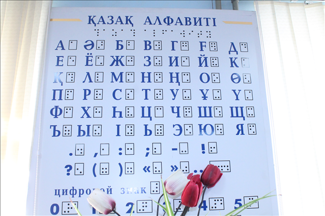 Зағип жандарға арналған рельефті алфавит