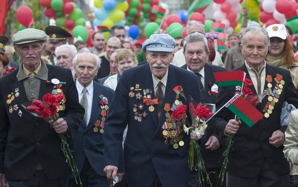 World War II veterans attend a rally marking the Victory Day in central Minsk
